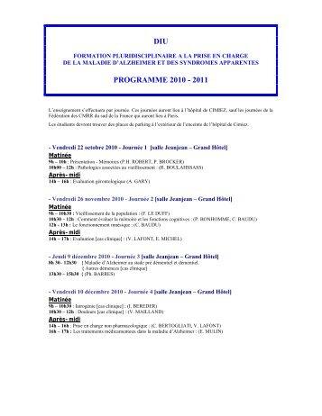 DIU PROGRAMME 2010 - 2011