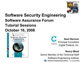 Software Security Engineering - Build Security In - US-CERT