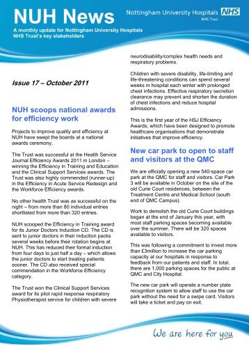 NUH News October 2011 - Nottingham University Hospitals NHS Trust