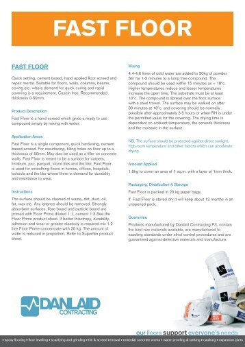 Fast Floor Technical Data Sheet - Danlaid Contracting