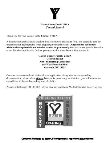 Financial assistance application deadline - YMCA of Central Ohio