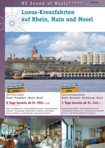 Luxus-Kreuzfahrten auf Rhein, Main und Mosel - Zihlmann Zeitreisen