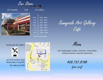 Download a PDF of our menu - Sunnyvale Art Gallery
