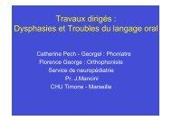 Travaux dirigés : Dysphasies et Troubles du langage oral - Resodys