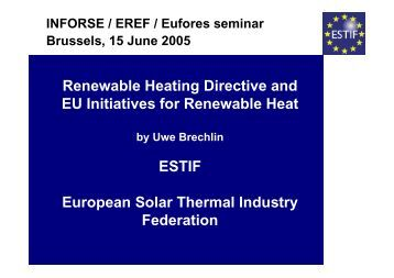 Renewable Heating Directive and EU Initiatives for Renewable Heat ...
