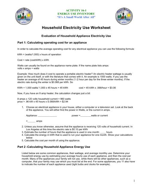 Household Electricity Use Worksheet - Physics-matters.net