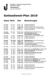 Gottesdienstplan 2011 (PDF) - Kirchenkreis Liebefeld
