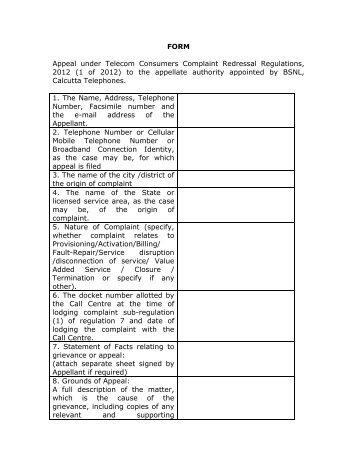 Download Form - Calcutta Telephones