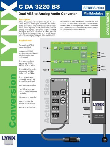 Dual AES to Analog Audio Converter - LYNX Technik AG