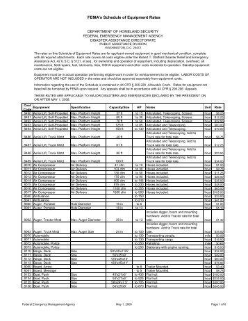 FEMA's Schedule of Equipment Rates