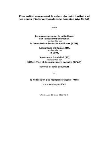 Convention concernant la valeur du point tarifaire et les seuils d ...