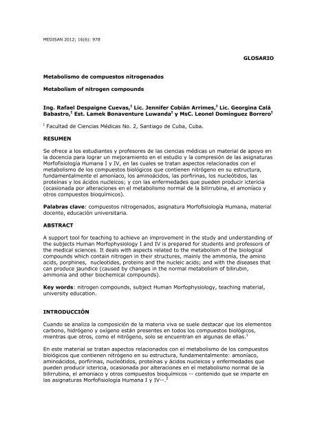Glosario Metabolismo De Compuestos Nitrogenados Scielo