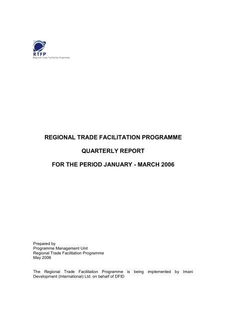 regional trade facilitation programme quarterly report for the period ...