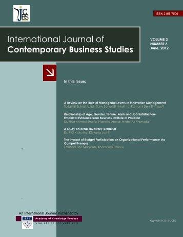 International journal of Contemporary Business Studies