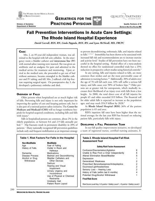 Fall Prevention Interventions In Acute Care Settings Rhode