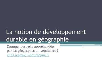 La notion de développement durable - Histoire géographie Dijon
