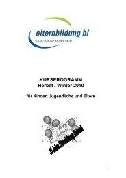 KURSPROGRAMM Herbst / Winter 2010 - elternbildung bl