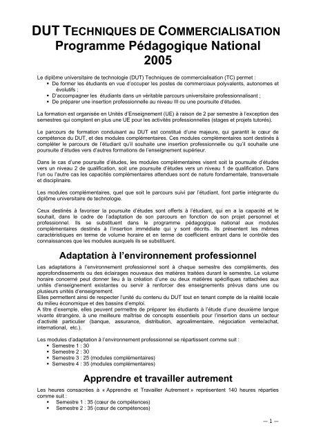 Programme Pa C Dagogique Dut Tc Iut Bayonne