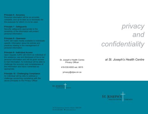Privacy and Confidentiality Brochure - St. Joseph's Health Centre ...