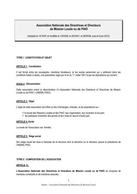Consulter Les Statuts Andml