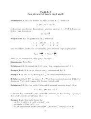 Capitolo 3 Complementi di teoria degli anelli