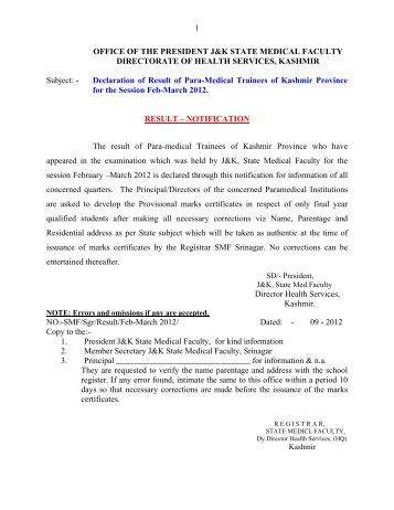 Result of Para-Medical Trainees of Kashmir Province for the Session ...