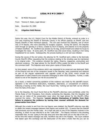 Litigation Hold Memorandums - Martin County, Florida