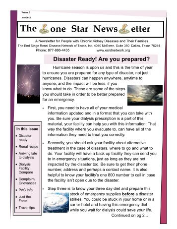 The one Star News etter - The End Stage Renal Disease Network of ...