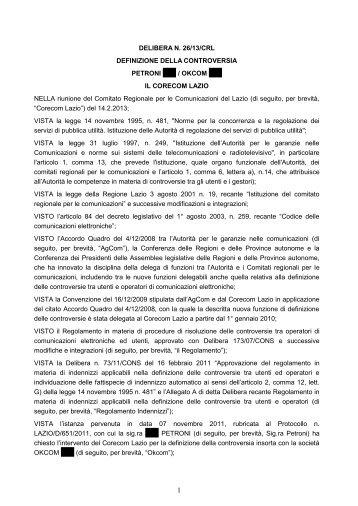 Delibera 26/13/CRL - Corecom Lazio
