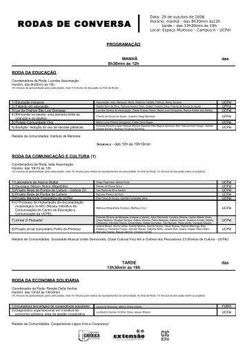 RODAS DE CONVERSA DA COMUNIDADE - Universidade Católica ...
