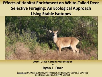 the effects of overpopulation of white tailed Of white-tailed deer density on songbird species richness, abundance, and  habitat  deer population  has increased since 1970 and tical structure of woody  and.