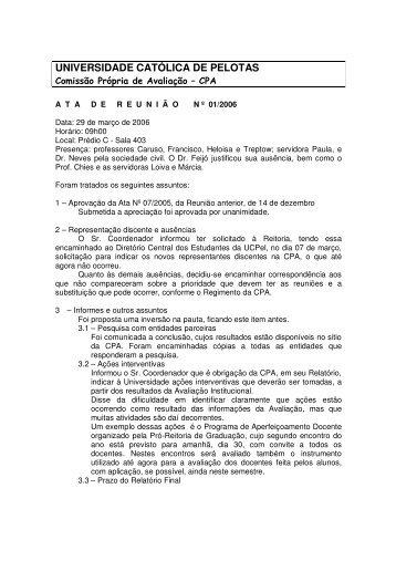 Ata de 29 de Março - Universidade Católica de Pelotas