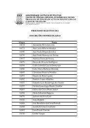 Inscrições Homologadas - Universidade Católica de Pelotas