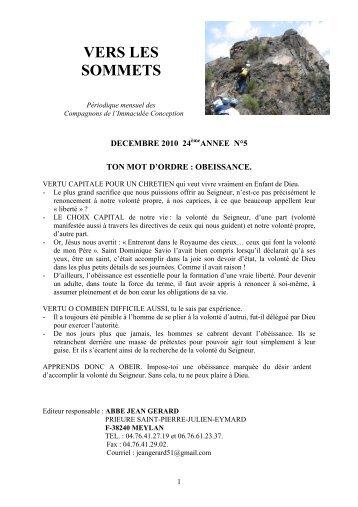 Vers les sommets de décembre 2010 - Ton mot d ... - La Porte Latine