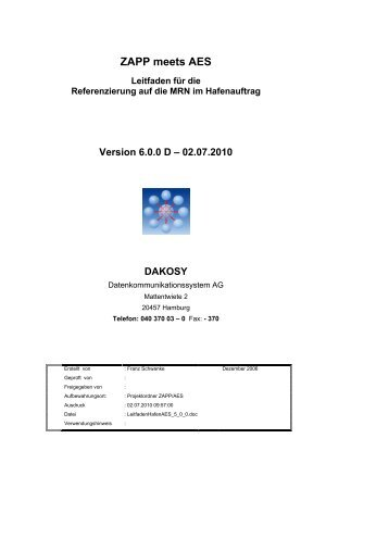 Leitfaden ZAPP / AES - DAKOSY Datenkommunikationssystem AG