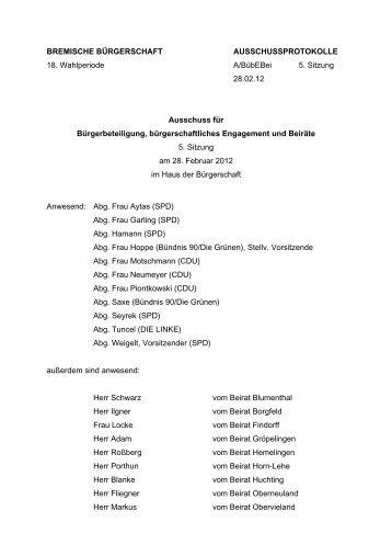 Protokoll 5. Sitzung vom 28. Februar 2012 (pdf, 42.5 KB)