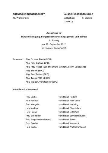Protokoll 8. Sitzung vom 18. September 2012 (pdf, 55.1 KB)