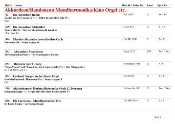 Akkordeon/Bandoneon Mundharmonika/Kino Orgel etc. - Record ...