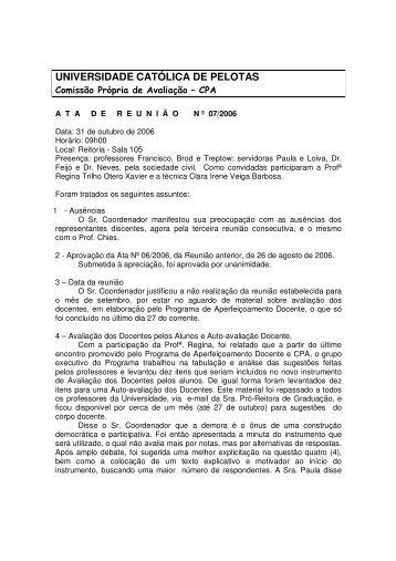 Ata de 31 de outubro - Universidade Católica de Pelotas