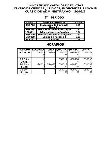 horários - Universidade Católica de Pelotas