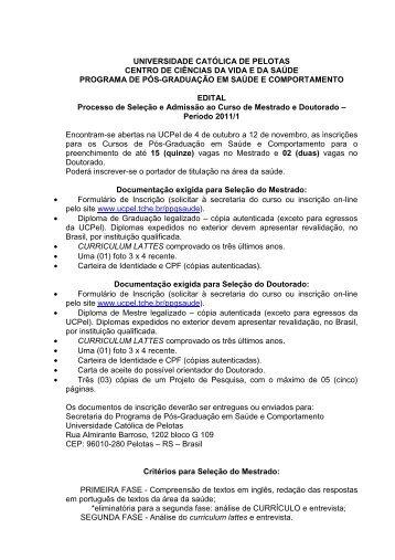 Edital Versão 2011 - Universidade Católica de Pelotas