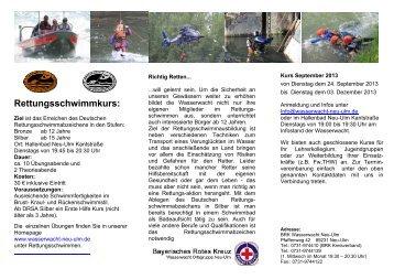 Rettungsschwimmkurs April 2013 - Wasserwacht Ortsgruppe Neu-Ulm