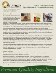 Identity Preserved Ingredients Certified Organic & Conventional Non ...