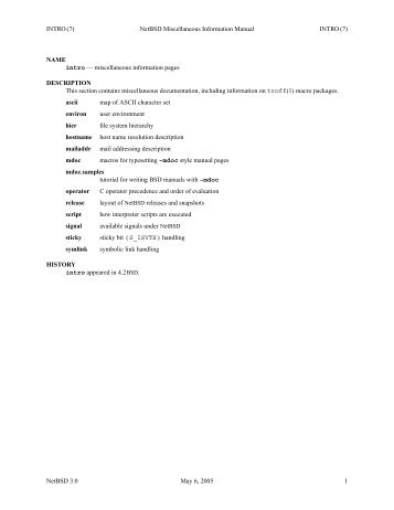 INTRO (7) NetBSD Miscellaneous Information Manual INTRO (7 ...