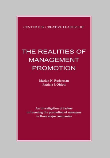 The Realities of Management Promotion - Center for Creative ...