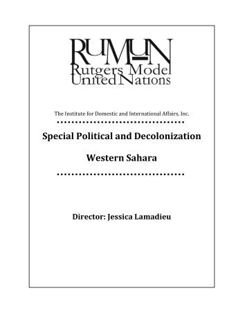 Special Political and Decolonization Western Sahara - IDIA