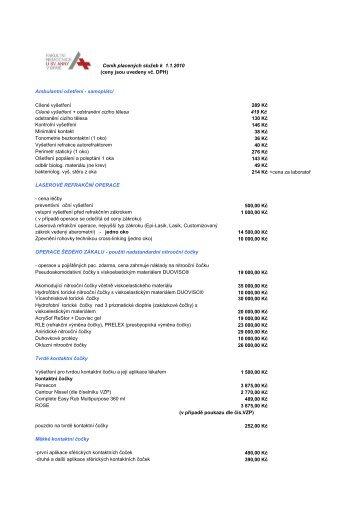 Ceník placených služeb k 1.1.2010 (ceny jsou uvedeny vč. DPH ...