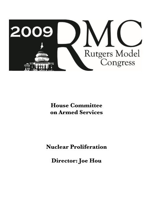 House Committee on Armed Services Nuclear Proliferation ... - IDIA