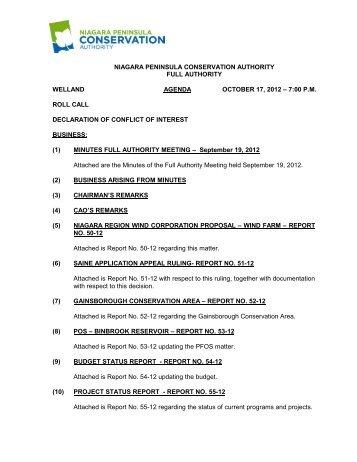 Agenda - Niagara Peninsula Conservation Authority