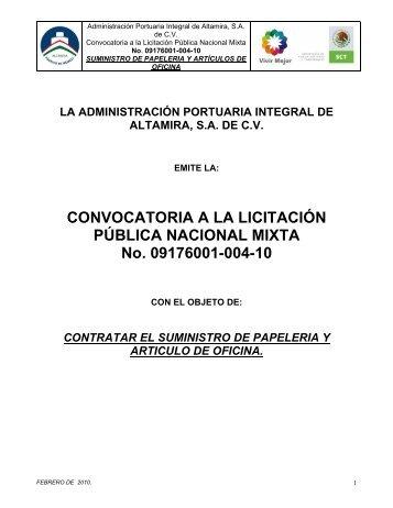 CONVOCATORIA A LA LICITACIÓN PÚBLICA NACIONAL MIXTA ...